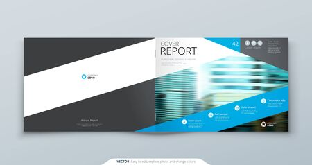 Blue Horizontal Brochure Cover Template Layout Design. Corporate Business Horizontal Brochure, Annual Report, Catalog, Magazine, Flyer Mockup. Creative Modern Brochure Concept with Square Shapes.