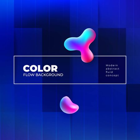 Liquid Color Background Design with Square Cells. Fluid gradient Background shapes composition. Blue Futuristic Background design posters or social banners. Eps10 vector. 일러스트