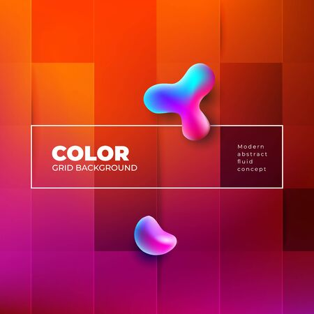 Color Background Design with Square Cells. Fluid gradient Background shapes composition. Red Futuristic Background design posters or social banners. Eps10 vector