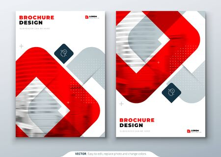 Red Brochure Design. A4 Cover Template for Brochure, Report, Catalog, Magazine. Layout with Bright Color Shapes and Abstract Photo on Background. Modern Brochure concept.
