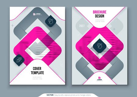 Pink Brochure Design. A4 Cover Template for Brochure, Report, Catalog, Magazine. Brochure Layout with Bright Color Shapes and Abstract Photo on Background. Modern Brochure concept.