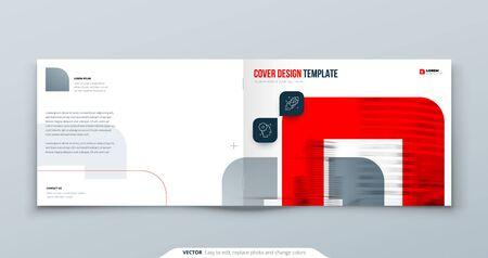 Diseño de folleto rojo horizontal. Plantilla de portada A4 para folleto, informe, catálogo, revista. Diseño de folleto horizontal con formas de colores brillantes y fotografía abstracta de fondo. Concepto de folleto moderno.