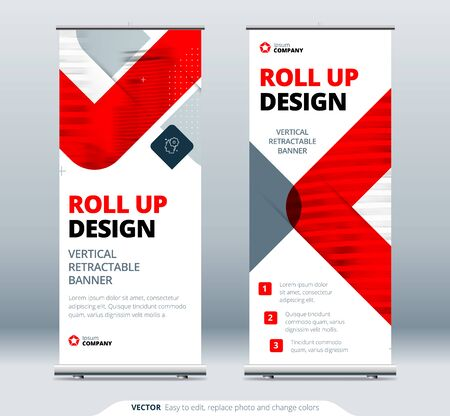 Business Roll Up Banner Stand. Abstract Roll up background for Presentation. Vertical roll up, x-stand, x-banner, exhibition retractable banner stand or flag layout. Poster for conference, forum  イラスト・ベクター素材