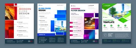 Flyer template layout design. Corporate business annual report, catalog, magazine, flyer mockup. Creative modern bright concept with square shapes.