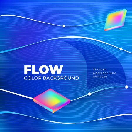Liquid line color background design. Blue Square Fluid gradient shapes composition with line. Futuristic design posters. Eps10 vector