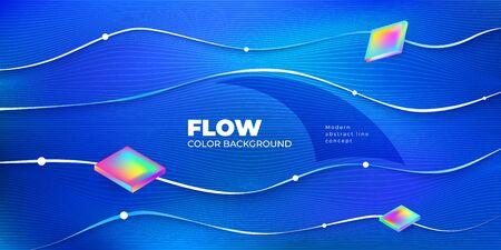 Liquid line color background design. Blue Fluid gradient shapes composition with line. Futuristic design posters. Eps10 vector