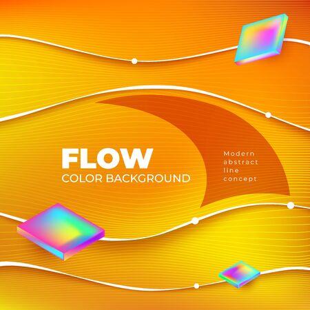 Liquid Line color background design. Square Fluid Line gradient shapes composition. Futuristic design posters. Eps10 vector