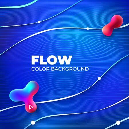 Liquid line color background design. Blue Square Fluid gradient shapes composition with line. Futuristic design posters. Eps10 vector. 矢量图像