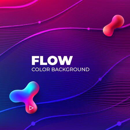 Liquid color background design. Square Fluid gradient shapes composition. Futuristic Design Banner for Social Network. Eps10 vector