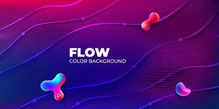 Liquid Color Background Design. Horizontal Fluid Gradient Shapes Composition. Futuristic Design Banner for Social Network. Eps10 vector. 矢量图像
