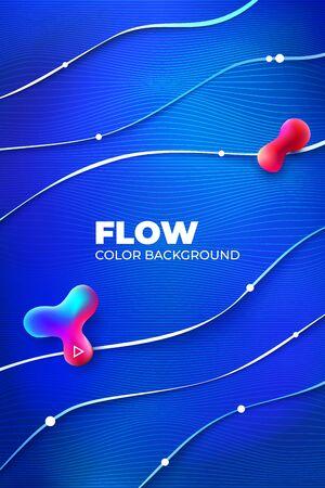 Liquid line color background design. Blue Fluid gradient shapes composition with line. Futuristic design posters. Eps10 vector. 矢量图像