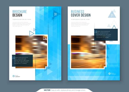 Brochure Design. A4 Cover Template for Brochure, Report, Catalog, Magazine. Layout with Bright Color Shapes and Abstract Photo on Background. Modern Brochure concept. 矢量图像