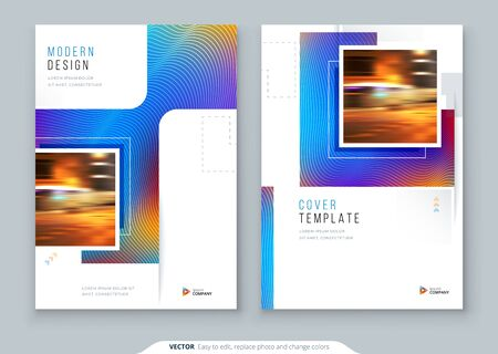 Brochure Cover Background Design. Corporate Template Layout for Business Annual Report, Catalog, Magazine or Flyer Mockup. Creative Modern Bright Concept with Square Rhombus Shapes. Vector Background.
