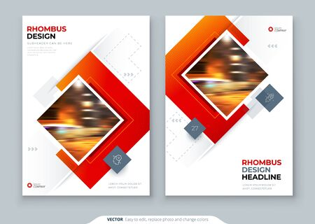 Brochure Cover Background Design. Corporate Template Layout for Business Annual Report, Catalog, Magazine or Flyer Mockup. Creative Modern Bright Concept with Square Rhombus Shapes. Vector Background
