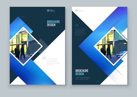 Blue Brochure Cover Background Design. Corporate Template Layout for Business Annual Report, Catalog, Magazine or Flyer. Modern Concept with Square Rhombus Shapes. Vector Background. Set - GB075