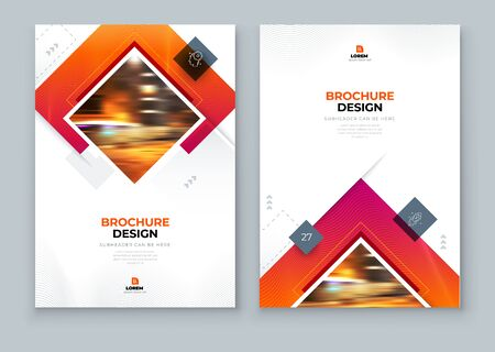 Red Brochure Cover Background Design. Corporate Template Layout for Business Annual Report, Catalog, Magazine or Flyer Mockup. Modern Concept with Square Rhombus Shapes. Vector Background. Set - GB075