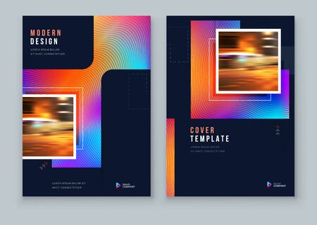 Dark Brochure Cover Background Design. Corporate Template Layout for Business Annual Report, Catalog or Flyer Mockup. Modern Concept with Square Rhombus Shapes. Vector Background. Set - GB075