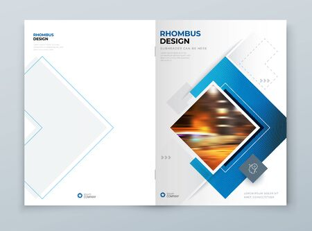 Blue Cover Template Layout Design. Corporate Business Horizontal Brochure, Annual Report, Catalog, Magazine, Flyer Cover Mockup. Creative Modern Bright Cover Concept with Square Shapes 矢量图像