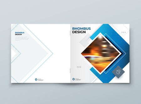 Blue Square Brochure Cover Template Layout Design. Corporate Business Horizontal Brochure, Annual Report, Catalog, Magazine, Flyer Mockup. Creative Modern Bright Brochure Concept with Square Shapes