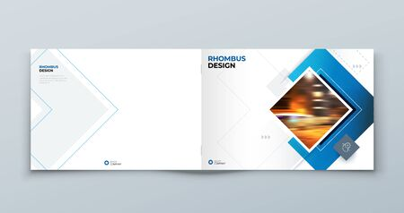 Blue Horizontal Cover Template Layout Design. Corporate Business Horizontal Brochure, Annual Report, Catalog, Magazine, Flyer Cover Mockup. Creative Modern Bright Cover Concept with Square Shapes 矢量图像