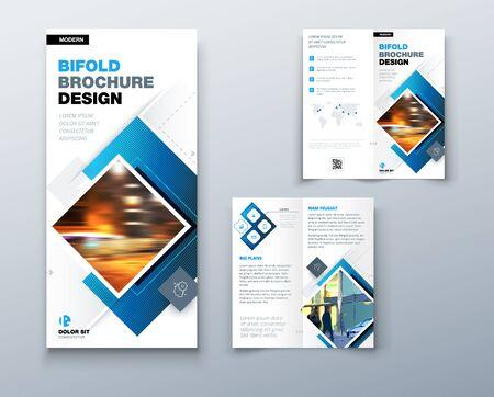 Bi fold projekt broszury z kwadratowymi kształtami, szablon biznesowy dla ulotki bi fold. Kreatywna koncepcja składana ulotka lub broszura bifold
