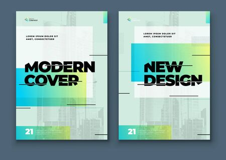 Green Brochure Design Cover Template for Brochure, Catalog, Layout with Color Shapes. Modern Vector illustration Brochure Concept. 矢量图像