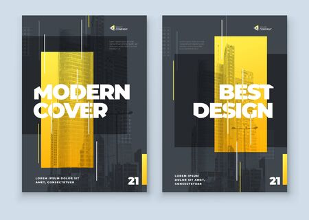 Yellow Brochure Design. A4 Cover Template for Brochure, Report, Catalog, Magazine. Layout with Bright Color Shapes and Abstract Photo on Background. Modern Brochure concept.
