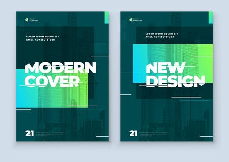 Green Brochure Design Cover Template for Brochure, Catalog, Layout with Color Shapes. Modern Vector illustration Brochure Concept in Dark Colors.