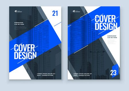 Blue Brochure Design. A4 Cover Template for Brochure, Report, Catalog, Magazine. Layout with Bright Color Shapes and Abstract Photo on Background. Modern Brochure concept.