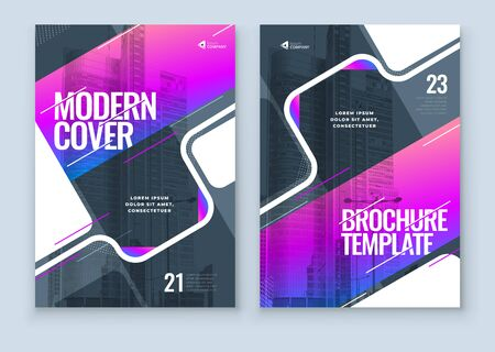 Purple Brochure Design Cover Template for Brochure, Catalog, Layout with Color Shapes. Modern Vector illustration Brochure Concept in Dark Colors.