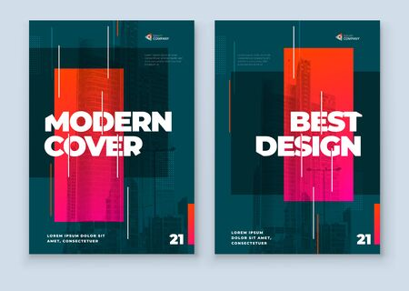 Dark Brochure Design. A4 Cover Template for Brochure, Report, Catalog, Magazine. Layout with Bright Color Shapes and Abstract Photo on Background. Modern Brochure concept.