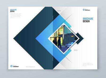 Brochure Cover Background Design. Blue Corporate Template Layout for Business Annual Report, Catalog, Magazine or Flyer Mockup. Vector Background
