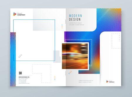 Diseño de fondo de portada de folleto. Diseño de plantilla corporativa azul para maqueta de informe anual empresarial, catálogo, revista o folleto. Fondo de vector. Conjunto - GB075