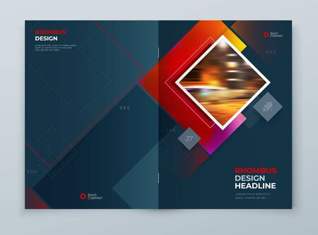 Diseño de fondo de portada de folleto. Diseño de plantilla corporativa para maqueta de informe anual empresarial, catálogo, revista o folleto. Concepto con formas de rombo cuadrado. Fondo de vector. Conjunto - GB075 Logos