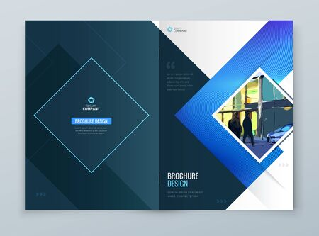 Brochure Cover Background Design. Blue Corporate Template Layout for Business Annual Report, Catalog, Magazine or Flyer Mockup. Vector Background. Set - GB075