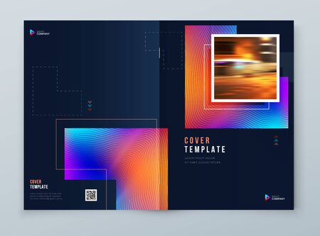 Brochure Cover Background Design. Corporate Template Layout for Business Annual Report, Catalog, Magazine or Flyer Mockup. Modern Concept with Square Rhombus Shapes. Vector Background. Set - GB075 矢量图像