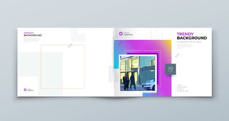 Landscape Brochure Cover Background Design. Modern Brochure Concept with Square Rhombus Shapes. Vector Background. Set - GB075