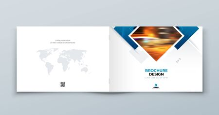 Blue Landscape Cover Background Design. Corporate Template for Business Annual Report, Catalog, Magazine or Flyer. Vector Background. Set - GB075