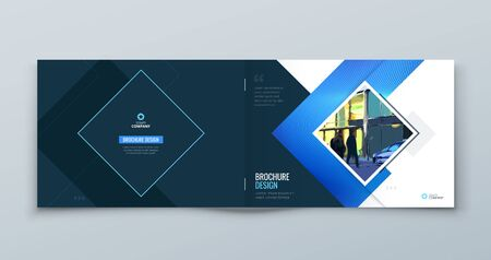 Horizontal Blue Square Brochure Cover. Modern Concept with Square Rhombus Shapes. Vector Background. Set - GB075 矢量图像