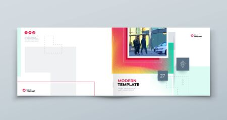 Horizontal Brochure Cover Background. Corporate Template Layout for Business Annual Report, Catalog, Magazine or Flyer Mockup. Modern Concept with Square Rhombus Shapes. Vector Background. Set - GB075