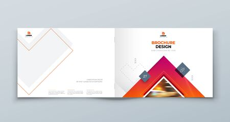 Horizontal Brochure Cover Background Design. Corporate Template Layout for Business Annual Report, Catalog, Magazine or Flyer Mockup. Concept with Square Rhombus Shapes. Vector Background. Set - GB075