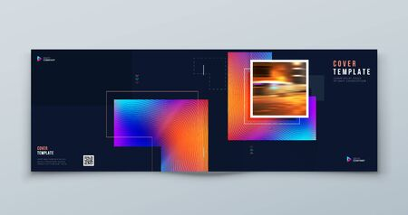 Dark Horizontal Brochure Cover Background Design. Corporate Template Layout for Business Annual Report, Catalog, Magazine or Flyer Mockup. Concept with Square Shapes. Vector Background. Set - GB075