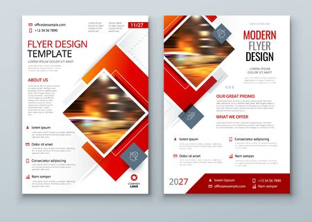 Flyer Design. Red Modern Flyer Background Design. Template Layout for Flyer. Concept with Square Rhombus Shapes. Vector Background. Set - GB075