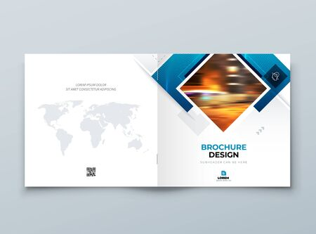 Blue Square Cover Background Design. Corporate Template for Business Annual Report, Catalog, Magazine or Flyer. Vector Background. Set - GB075