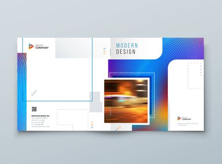 Blue Square Brochure Cover. Modern Concept with Square Rhombus Shapes. Vector Background. Set - GB075