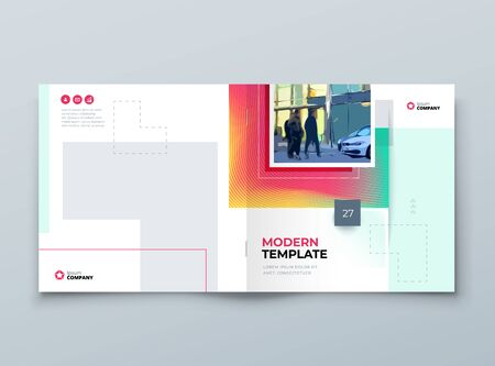 Brochure Cover Background Design. Corporate Template Layout for Business Annual Report, Catalog, Magazine or Flyer Mockup. Modern Concept with Square Rhombus Shapes. Vector Background. Set GB075