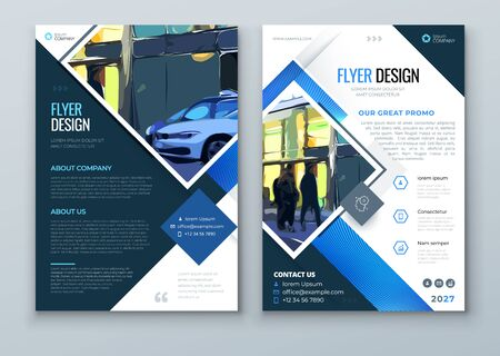 Blue Square Brochure Cover. Modern Concept with Square Rhombus Shapes. Vector Background. Set - GB075.