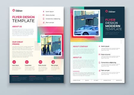 Flyer design. Corporate Template Layout for Flyer Mockup. Modern Concept with Square Rhombus Shapes. Vector Flyer Background. Set - GB075. 矢量图像