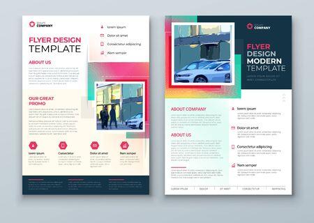 Ontwerp van flyers. Corporate sjabloonlay-out voor Flyer Mockup. Modern concept met vierkante ruitvormen. Vector flyer achtergrond. Set - GB075. Vector Illustratie