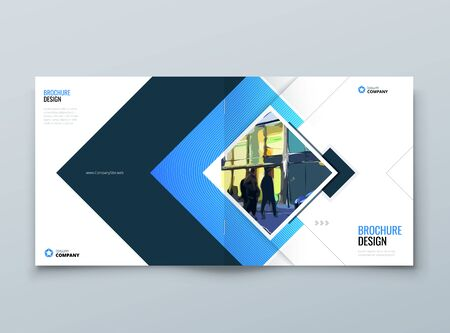 Blue Square Cover Background Design. Corporate Template for Business Annual Report, Catalog, Magazine or Flyer. Vector Background. Set - GB075. 矢量图像